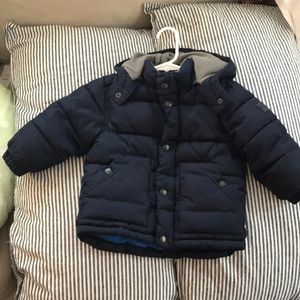Baby Gap Puffer Coat with hood. Navy blue.